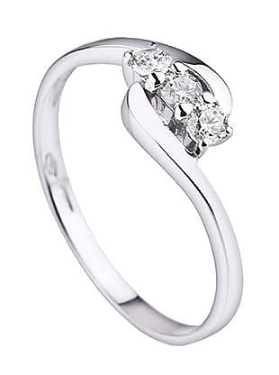 Design Diamond Anillo Boucles Rails Oro Blanco 0.21 Cts