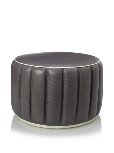Shine by S.H.O Welted Ottoman, Grey/White