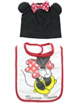 Baby-Girls Infant Minnie Mouse Character Bib and Hat Set, White, One Size