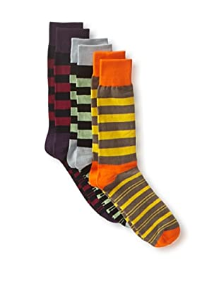 English Laundry Men's Fancy Colorblock - 3 Pack Socks (Assorted)