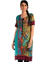 Turquoise green printed embroidery readymade kurti