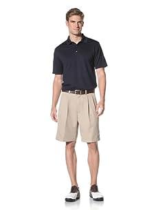 PGA Tour Men's Double Pleat Microfiber Short (Silver Mink)