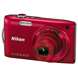 Nikon COOLPIX S3200 16 MP Digital Camera with 6x Zoom NIKKOR Glass Lens and 2.7-inch LCD (Red)