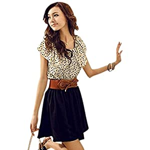 Charming Printed Dress For Women with Belt M Beigh& Black