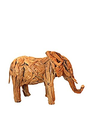 Asian Loft Teak Driftwood Elephant Sculpture, Natural