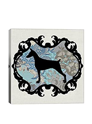 Doberman Blue & Black I Gallery Wrapped Canvas Print