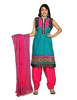Sanskruti Creations Women's Salwar Suit (SC-263_Turquoise_X-Large)