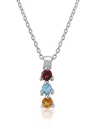 Divas Diamond Collar Multi Color Gemstone Plata