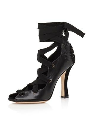 Philosophy di Alberta Ferretti Women's Leather Lace-Up Heel (Black)