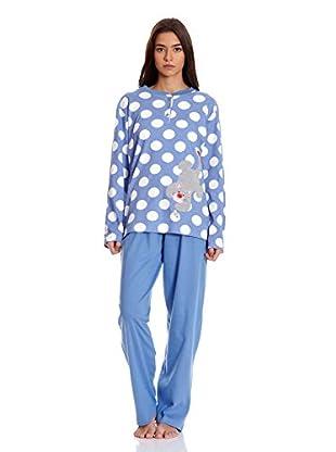 Muslher Pijama Con Tapeta Estampado Con Topos Y Un Gato Bordado (Celeste)