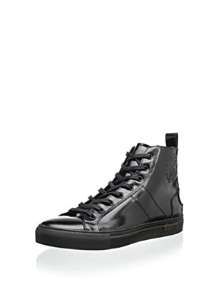 Roberto Cavalli Men's Dressy Leather Sole High Top Sneaker (Black)