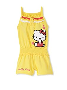 Hello Kitty Girl's 2-6X Applique Romper with Ruffles (Aspen Gold)