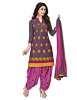 Jevi Prints Grey Embroidery Cotton Dress Material with Chiffon Dupatta