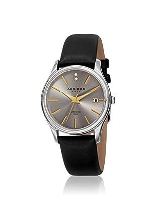 Akribos XXIV Women's AK879SS Velvet Black Leather Watch