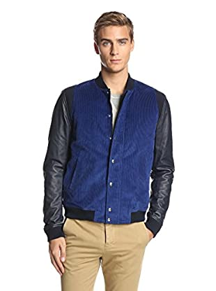 Band of Outsiders Men's Varsity Jacket with Leather Sleeves (Royal Blue)