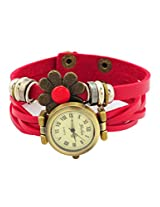 Flower Collections Pu Strap Womens Wrist Watch