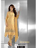 Dark Yellow Chiffon Designer Embroidered Straight Suit 1 - for Salwar Suit by Monster Fashion