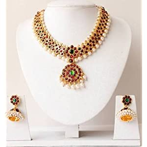 Mirraw Gold Tone Pearl Necklace and Earrings - Maroon