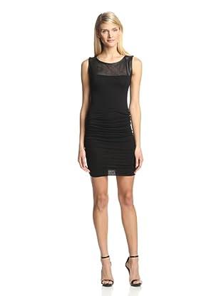 Twenty Tees Women's Sleeveless Ruched Dress with Leather Yoke (Black)