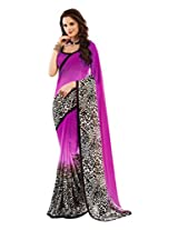 Brijraj Black White Purple Poly Georgette Beautiful Printed Saree With Unstitch Blouse