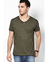 Olive Cold Pigment Dyed V Neck Tee With Pocket Print