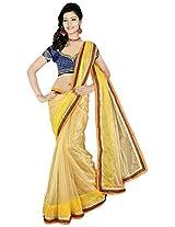 Lizel Fashion Women's Net Saree (B537, Yellow)