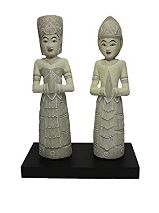 Asian Loft Thai Wedding Couple Statue, Antique Grey