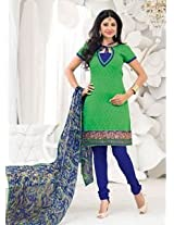 Saara Green And Blue Embroidered Dress Material - 148D6005