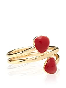 Frida Girl Double Heart Wrap Ring (Gold/Red)