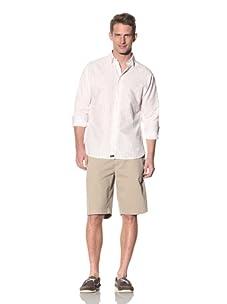 XMI Men's Streak Yarn Dye Button-Front Shirt (White)