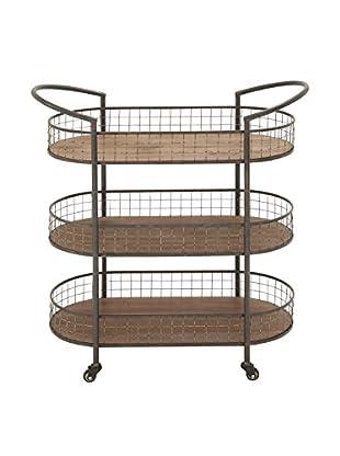 Metal & Wood 3-Tier Cart, Brown