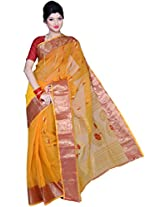 Amber Yellow Cotton Handloom Party and Festival Saree
