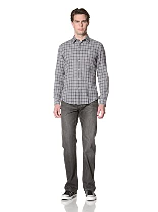 John Varvatos Star USA Men's Crinkle Long Sleeve Shirt (Atlantic)