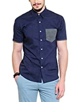 Yepme Men's Solid Blue Cotton Shirt- YPMSHRT0382_40