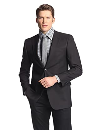 hickey Men's 2 Button Side Vent Solid Sportcoat (Black)