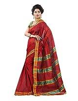 Cotton Embroidered Red Zari Work Saree - TSJE12840E