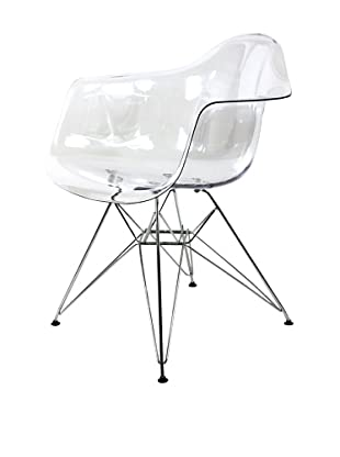 Control Brand Mid-Century-Inspired X-Leg Arm Chair, Clear