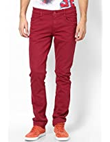 Solid Maroon Slim Fit Jeans John Players