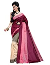 Maroon Color Cotton Blend Saree ( Angel )