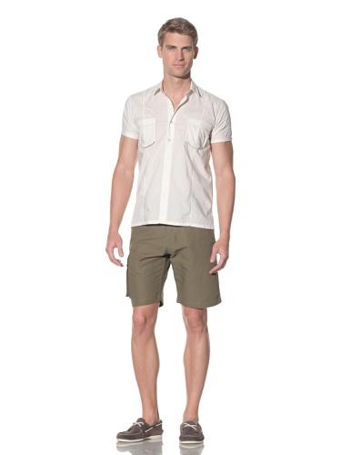 SIFR Men's Voile Pocket Panel Print Shirt (Cream)