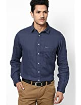 Blue Solid Linen Casual Shirt Pepe Jeans