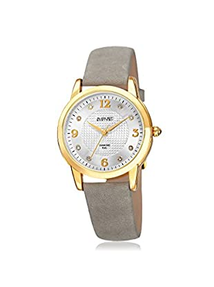 August Steiner Women's AS8198WTG Round Embossed Box Pattern Gold-Tone Leather Watch