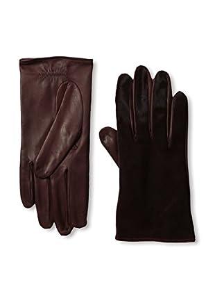 Portolano Women's Silk-Lined Leather Glove with Haircalf Top (Tokai/Burgundy Haircalf)