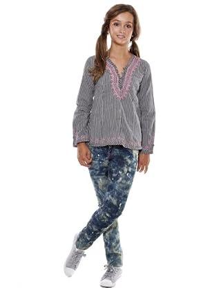 Custo Camisa Estampada (azul / rosa)