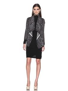 Sofia Cashmere Women's Waterfall Leopard Cardigan Sweater (Grey Leopard)