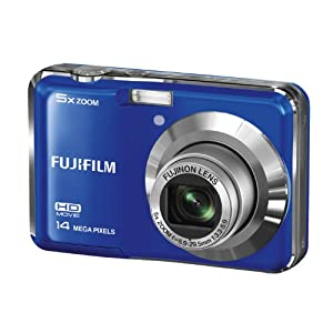 Fujifilm FinePix AX500 14MP Point-and-Shoot Digital Camera (Blue) with SD Card, Carry Case, Battery Charger