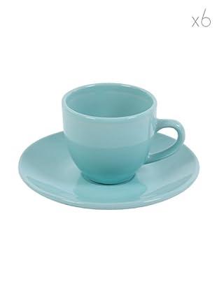 Kaleidos Set 6 Tazze Caffè con Piattino (Azzurro)
