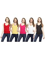 Exhort Fashion Black Red Blue White & Yellow Set Of 5 Women's Tank Top