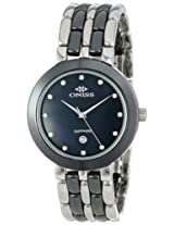 Oniss Paris Women's ON818-L-BLK Daisy Ceramic Collection Black Watch