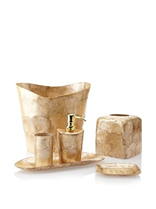 Pearl Dragon Organic Circular Layers 6-Piece Bathroom Set (Gold)